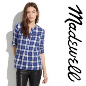 Madewell Smocked Popover Plaid Boy Shirt  A10-21